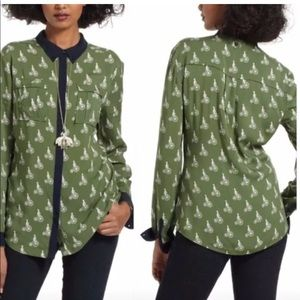 MAEVE Bagatelle Green Bicycle Blouse 4 Button down